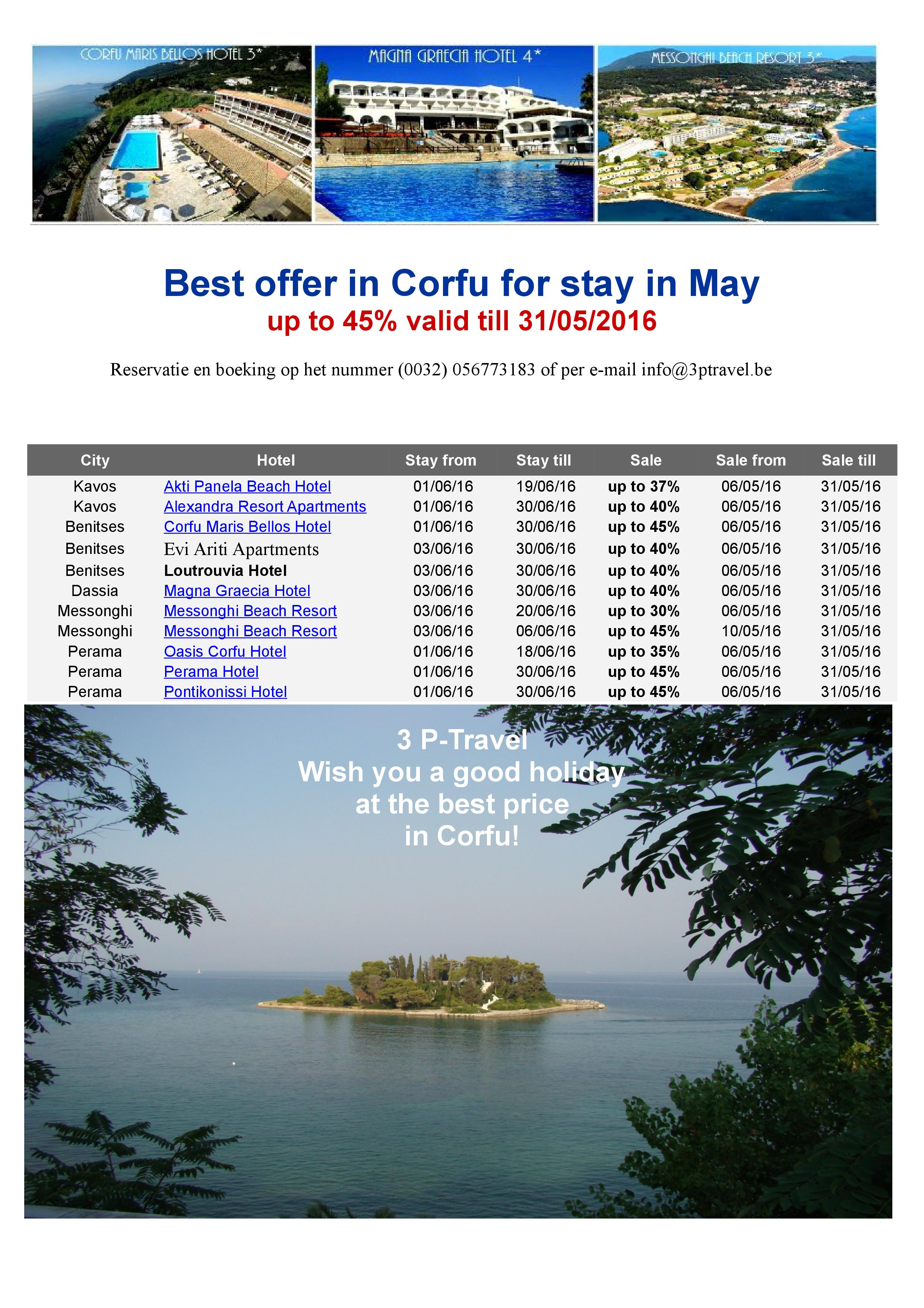 Best offer Corfu may 2016.